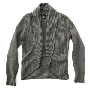 H&M Ribbed Gray Open Drape Cardigan Sweater :105